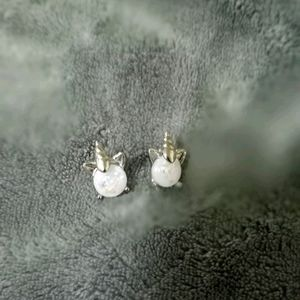 Unicorn Silver & White girl earrings